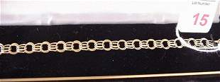 14KT Double Link Yellow Gold Charm Bracelet