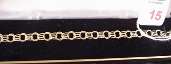 15: 14KT Double Link Yellow Gold Charm Bracelet: