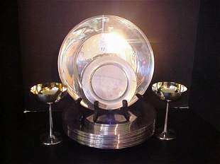 Silverplate Service Plates, Side Plates and Stems