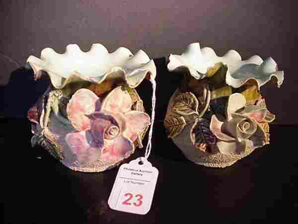 Pair of Sand Majolica Flower Vases