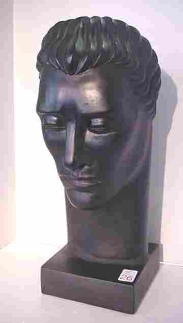 Deco Grecian Male Chalk Bust on Plinth