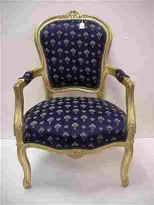 Gold Frame French Style Arm Chair w/Navy Upholstery