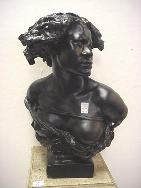 Rodin Style Chalk Bust of African Female Slave