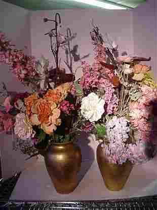Spring Floral Arrangements in Gold Tone Urns
