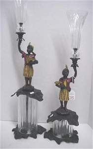 35: Glass and Cast Metal Moorish Slave Candle Holders: