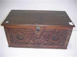 Hand Carved Wooden Decorator Trunk