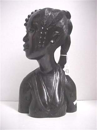 Signed Chalk African Female Bust