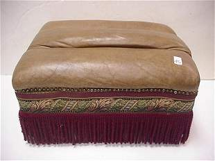 Leather Topped Fringed Ottoman
