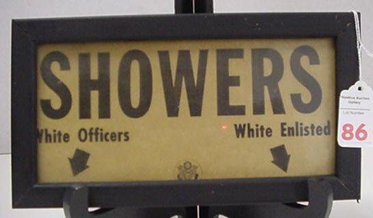 86: Black Memorabilia US Army WWII Shower Form: