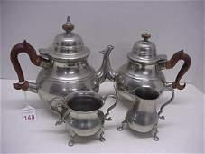 148: Stieff Pewter Williamsburg Coffee & Tea Set: