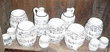 204: German Blue and White Cruets, Herb & Spice Jars: