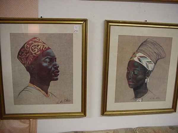253: 4 W.M. Otto Framed Portrait Paintings: