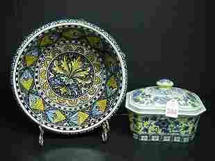 Handpainted Italian Bowl & Ceramic Box