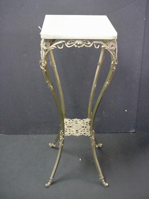 401: Pierced Brass and Onyx Two Tiered Fern Stand: