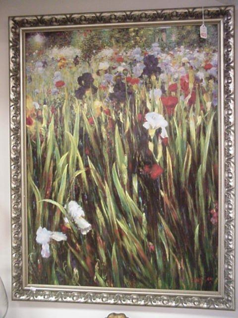 403: Framed Floral Oil on Board Signed, Singles: