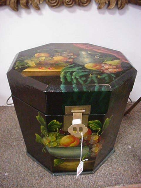 407: Hand Painted Fruit Motif Octagonal Wooden Box: