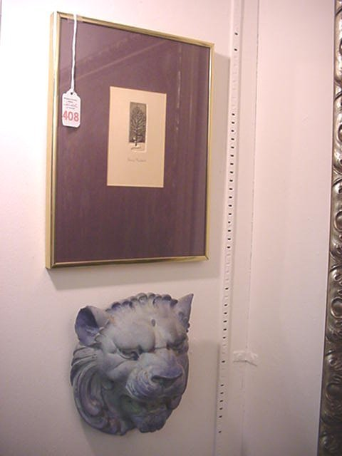 408: Framed Lisa Shell Etching and Chalk Lion Head: