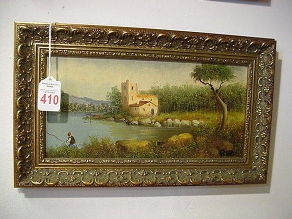 410: Initial Signed Framed Oil on Canvas Landscape: