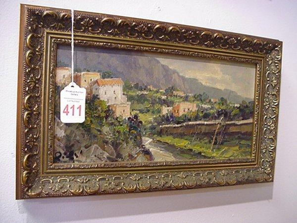 411: Initial Signed Framed Oil on Canvas Landscape: