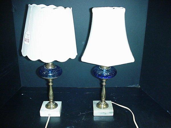 413: 2 Brass Boudoir Lamps-Blue Bohemian Glass Inserts:
