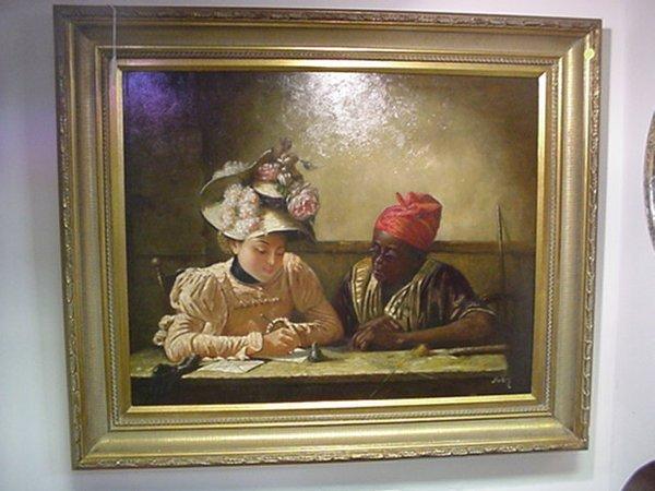 415: Framed Melton Oil on Canvas, The Letter:
