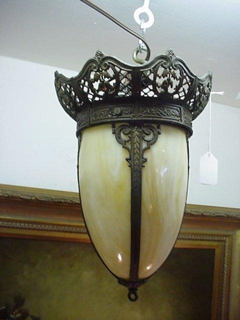 420A: Caramel Slag Glass Foyer Lamp in Pierced Frame: