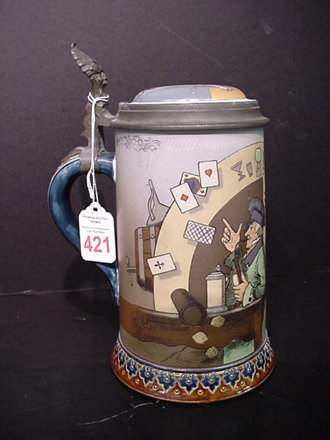 421: Signed, Etched Mettlach Stein #2090:
