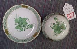 527 Herend Hand Painted Pin Jar with Ring Tray
