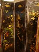 533 Leather Hand Painted Four Panel Chinoiserie Screen