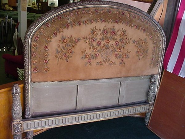 681: French Full Size Bed With Needlepoint Headboard: