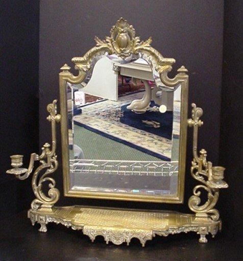 690A: Elegant Vintage Brass Framed Dresser Mirror: