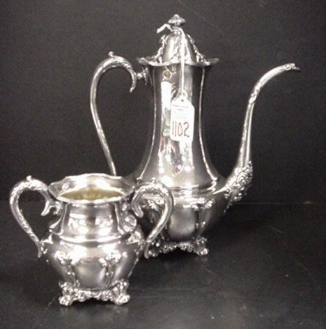 1102: Forbes Silver Co. Coffee Pot and Sugar:
