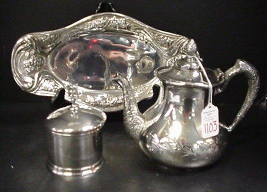 1103: Silverplate Teapot, Puff Box & Bread Tray:
