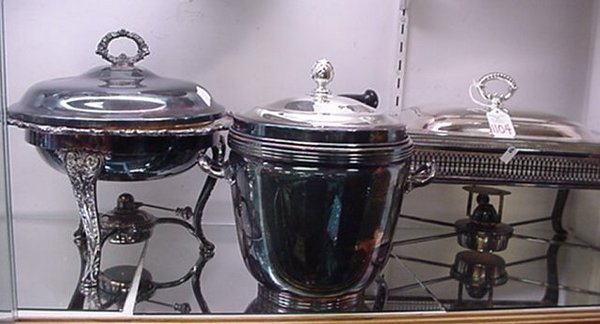1104: Two Silver Plate Chafing Dishes & Ice Bucket: