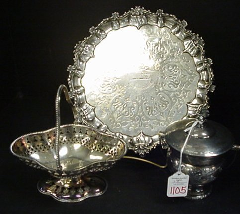 1105: Silver Plate Tray, Basket and Sugar: