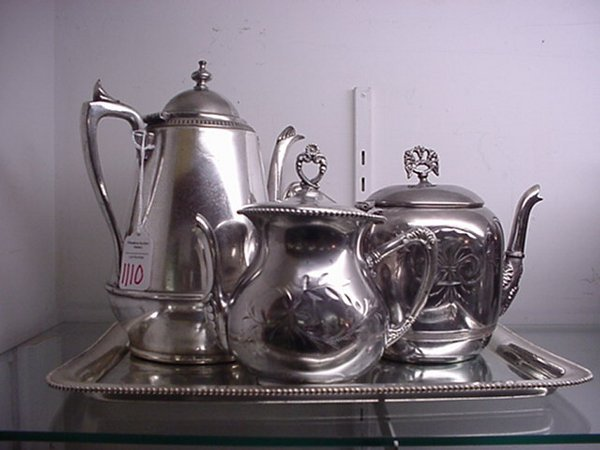 1110: Silverplate Teapots, Coffee Pot and Tray: