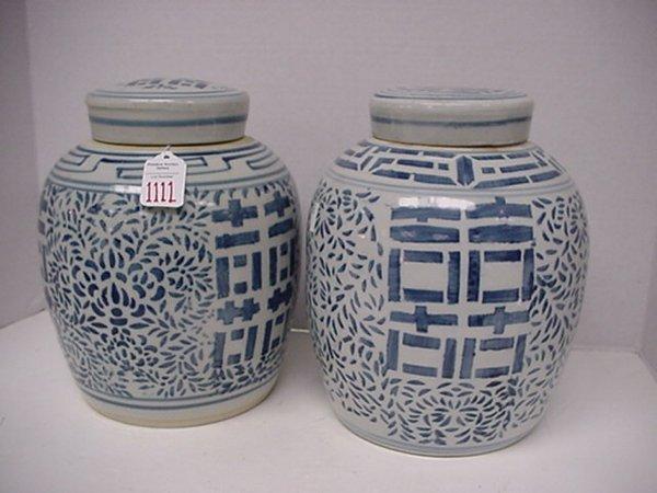 1111: Two Blue & White Covered Ginger Jars: