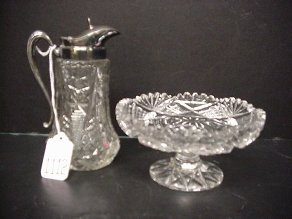 1112: Clear Cut Crystal Small Compote & Syrup Jug: