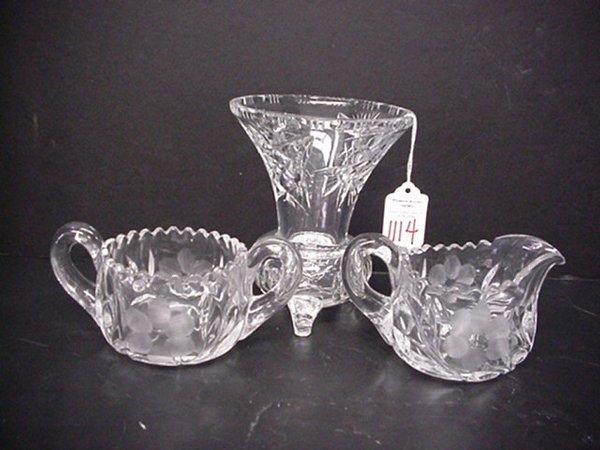 1114: Cut Clear Crystal Vase, Pressed Sugar & Creamer: