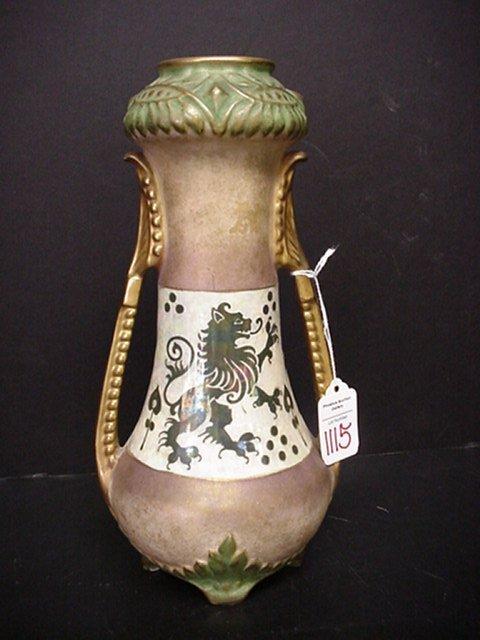 1115: Austrian Ceramic Double Handled Vase: