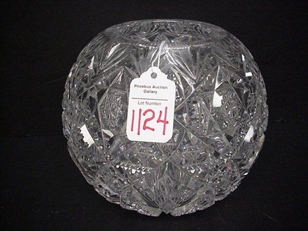 1124: Clear Cut Crystal Rose Bowl: