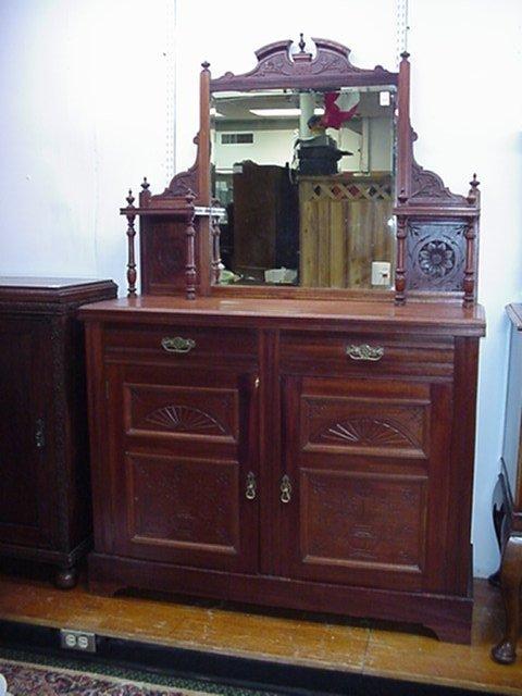 1248: Walnut Eastlake Sideboard with Mirror: