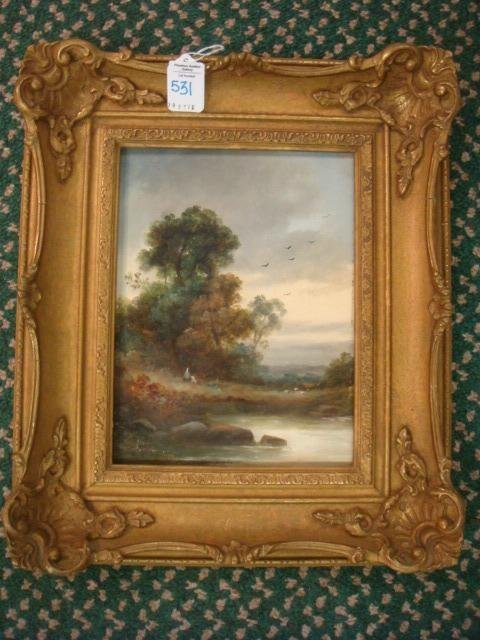 Pastoral Oil Painting on Board: