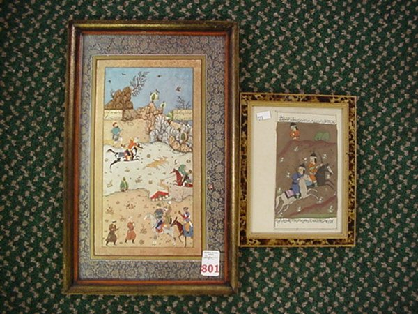 801: 2 Framed Handcolored Persian Manuscript Pages: