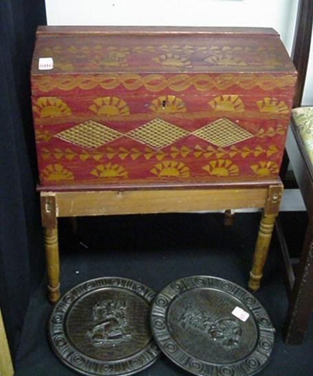 806: Hand Carved Domed Top Treasure Box on Stand: