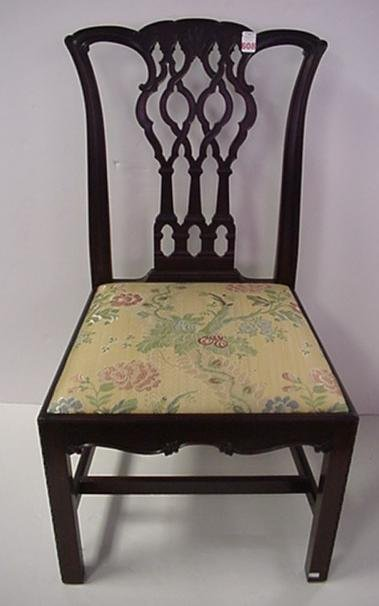 808: Chippendale Style Upholstered Side Chair: