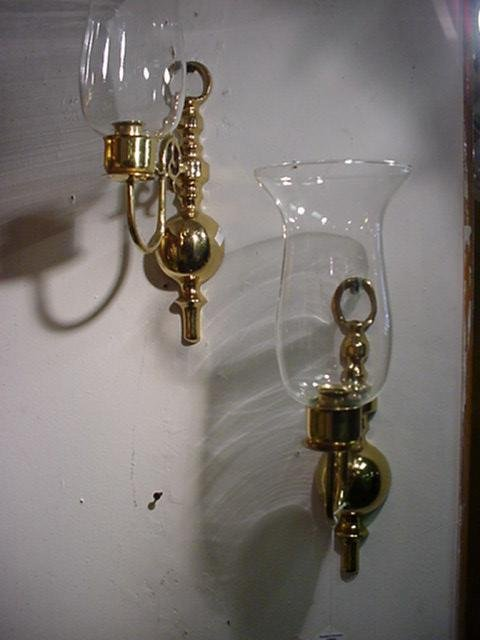 810: Pair of Single Arm Brass Colonial Style Sconces: