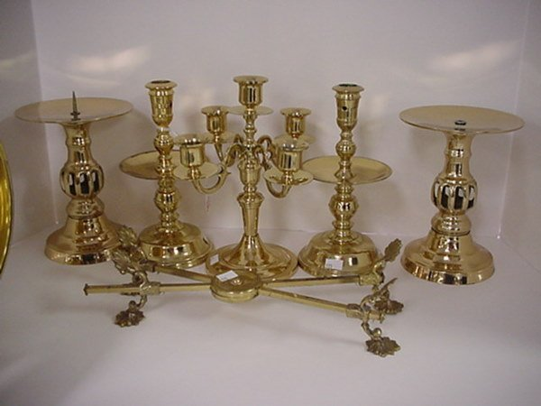 813: Brass Candle Stands, Bowl and Stand: