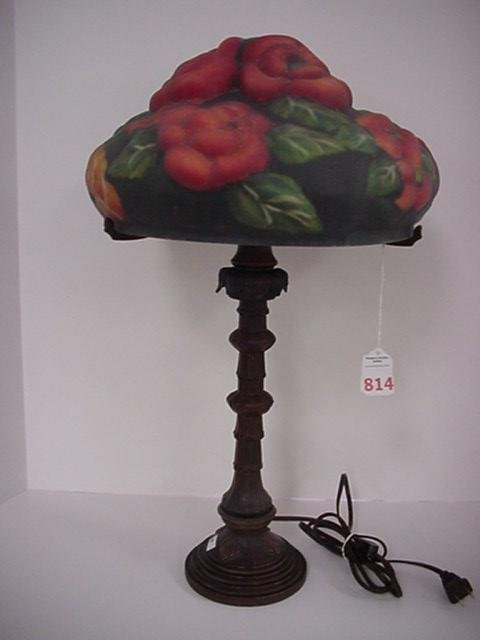814: Reverse Painted Puffy Floral Table Lamp: