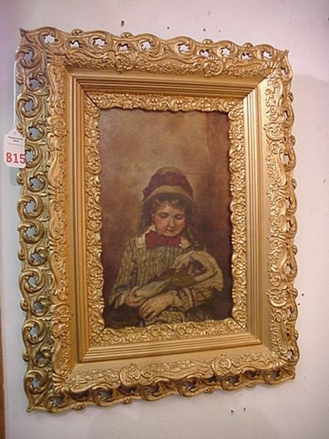 815: Girl with Cat Oil on Canvas in Ornate Gold Frame: